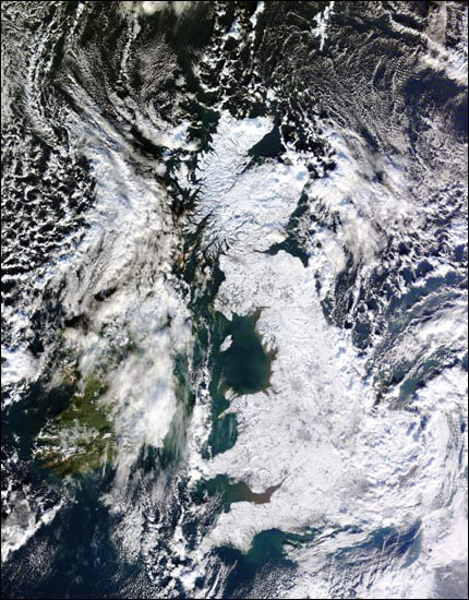 uk in snow by NASA