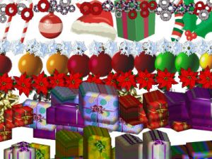 lines of assorted xmas items