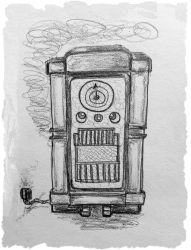 drawing 1950s cabinet radio