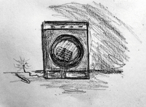 pencil drawing tumble dryer with lighted fuse