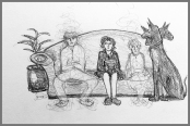 drawing of people on a sofa