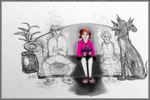 cartoon of three people on a sofa