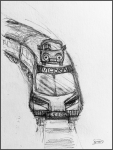 drawing of car on top of train