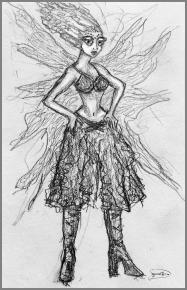 drawing of figure with wings