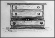 drawing chest of drawers and spider