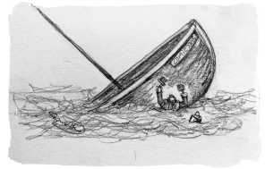 drawing of man painting sinking boat