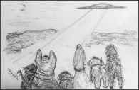 drawing of dogs and flying saucer