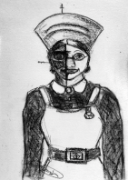 cartoon drawing nurse with Borg implants