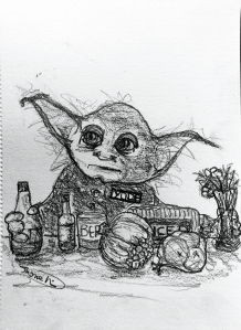 drawing, Yoda on checkout