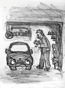 drawing of man and car
