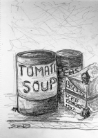 drawing of tins, biscuits, and mice