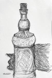 charcoal drawing decorative bottle with cat