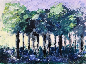 painting of trees and bluebells