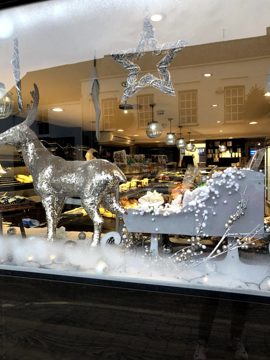 shop window with silver reindeer and white sleigh
