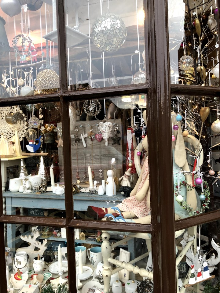 shop front with decorative items