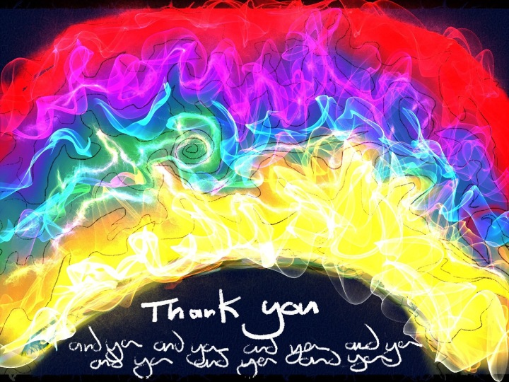 rainbow with thank you text