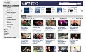 screenshot of YouTube EDU site